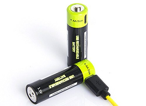 Znter 1.5V 1250mAh USB Rechargeable AA Size LiPoly Battery (2pcs)