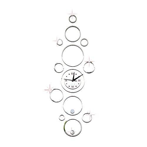 Forepin® DIY Wanduhr 3D Wandtattoo mit Spiegel Dekoration Clock Uhr für Öffentliche Wohnzimmer Büro Schlafzimmer Studierzimmer - Silber