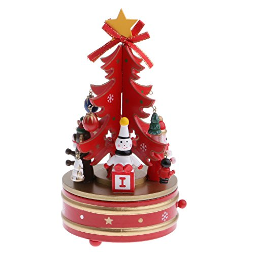 Dovewill Christmas Tree Music Box Kid Wind Up Musical Toy Snowman Xmas Party Showcase Decoration Red by Dovewill
