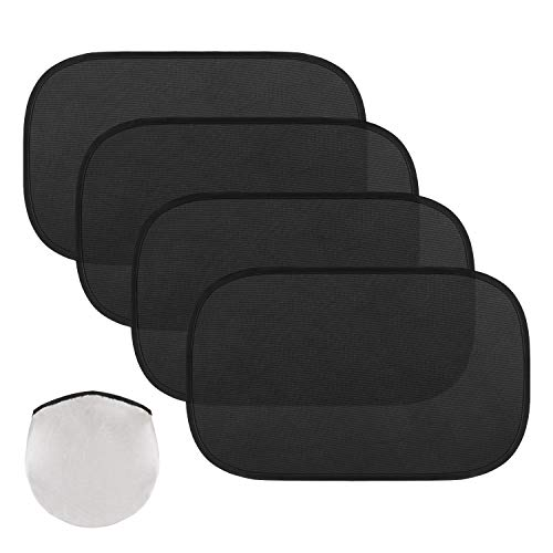 MoKo Car Window Sun Shades, 4 Pack Car Side Window Shield Cover Universal PVC Electrostatic Film Sun Shade Sticker for Sun Glare UV Protection, Black