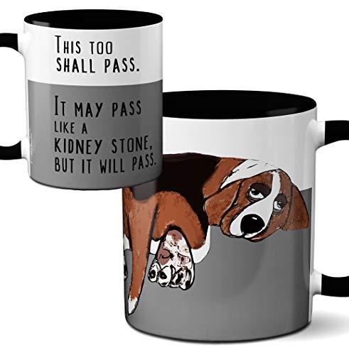 Basset Hound Beagle Mug by Pithitude - One Single 11oz. Black Coffee Cup