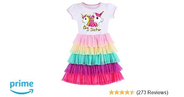 46170b7e5c8d Amazon.com  Girl s Party Birthday Princess Unicorn Rainbow Dress ...