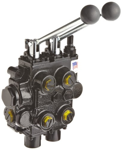 Prince RD526CCAA5A4B1 Directional Control Valve, Monoblock, Cast Iron, 2 Spool, 4 Ways, 3 Positions, Tandem, Spring Center, Lever Handle, 3000 psi, 25 gpm, In/Out: #12 SAE, Work #10 SAE by Prince Manufacturing