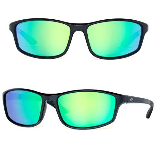 Bnus crossman polarized sunglasses for men corning glass lens italy made (Black/Green Mirrored, Never Scratch Mirror Coating Polarized Lens)