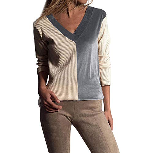 NRUTUP Womens Casual Long Sleeve V-Neck Stitching Color Blouse Tops Shirt ()