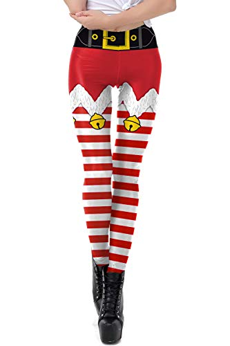Timemory Women's Ugly Santa Christmas Leggings Funny Costume Tights S/M #079 -