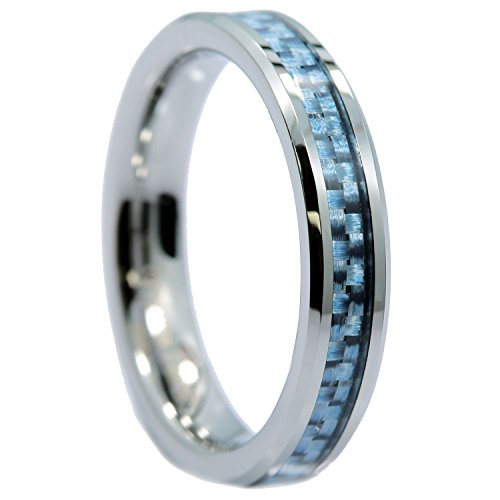 (MJ Metals Jewelry 4mm Tungsten Carbide Blue Carbon Fiber Inlay Wedding Band Ring Size 5.5)