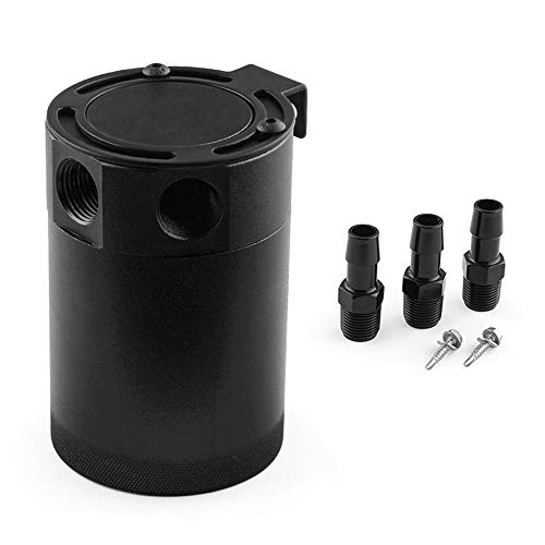High Performance Black Aluminum Alloy RACING BAFFLED 3-PORT Oil Catch Can