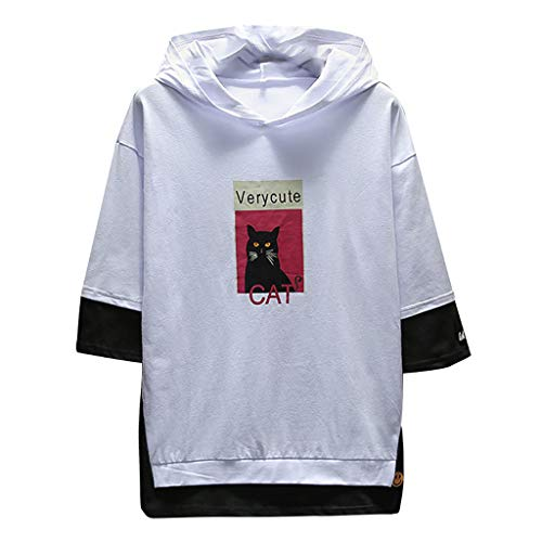 Men's Summer Fashion Printing Hoodie Loose T-Shirts Fake Two Half Sleeves Tops White Cleveland Browns Tie Bar
