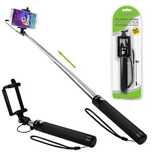 Compact Alcatel OneTouch Pixi Glitz (Tracfone) Black Extendable (Aux Cable) Self Portrait Selfie Stick Stick Handheld Monopod for Smartphones and Cameras with Shutter Controls Button on Handle -  Cell-Stuff