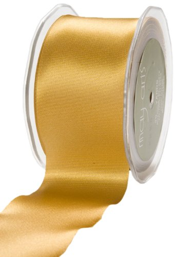 May Arts 2-Inch Wide Ribbon, Gold Satin by May Arts