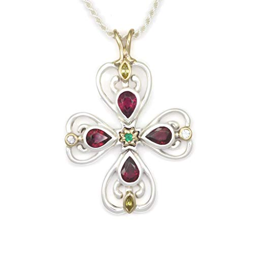 Gold Cross Pendant, Silver Cross Pendant, Sapphire Cross Necklace, Emerald Cross Necklace by Donna Pizarro