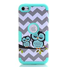 iPod Touch 5 case,iPod Touch 6 Case,Rosepark(TM) Sleeping Owls Hybrid 3 in 1 Shield Series Impact Resistant Armor Combo for Apple iPod Touch Generation 5th 6th(Green),with Screen Protector+Stylus