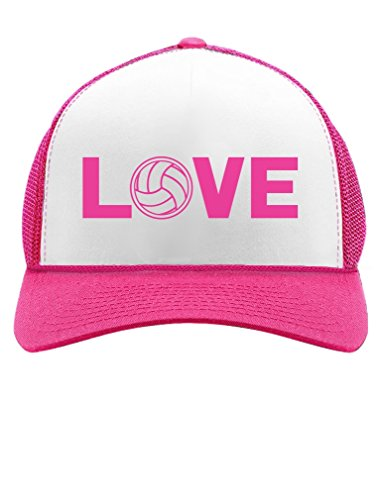 Love Volleyball for Volleyball Fans/Player Trucker Hat Mesh Cap One Size Wow Pink/White (Best Male Volleyball Player)