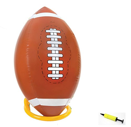 4 Foot Giant Inflatable Football with Tee and Pump - Jumbo Playground Blow Up Beach Ball Kickball Outdoor Backyard Lawn Poolside Game for Kids (Jumbo Inflatable)