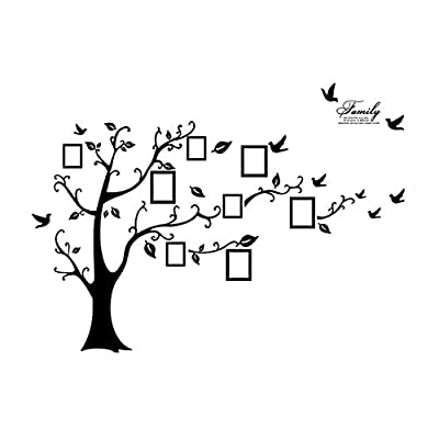 uxcell Tree Leaf Pattern Window Living Room Decal Wall Sticker 2 in 1 Black