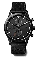 Triwa Sort of Black Glow Chrono Unisex Watch with 2 Straps, Leather and Mesh, LCST112