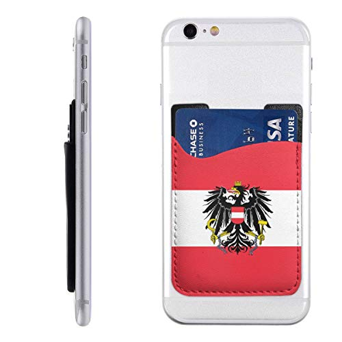 Cell Phone Stick On Wallet Austria State Flag Card Holder Phone Ultra-Slim Pocket for iPhone, Android and Smartphones