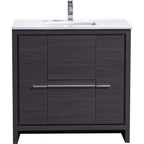 KubeBath Dolce 36″ Gray Oak Modern Bathroom Vanity with White Quartz Counter-Top (Vanity Top White China)