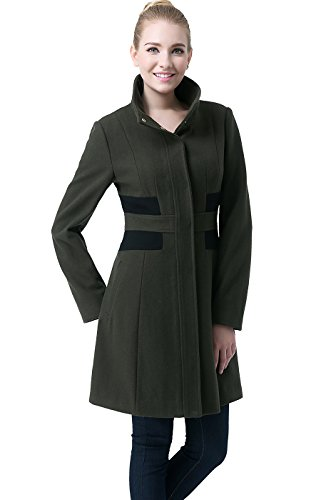 Loden Green Wool - BGSD Women's Prim Color Block Wool Blend Coat - Loden XL
