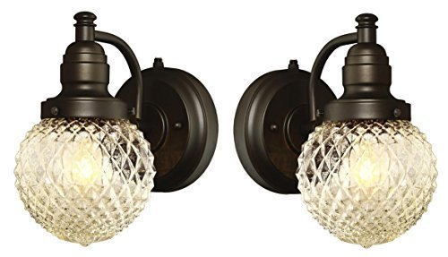 One-Light Outdoor Wall Fixture with Dusk to Dawn Sensor with with Clear Diamond Cut Glass, Oil Rubbed Bronze (2-Pack)