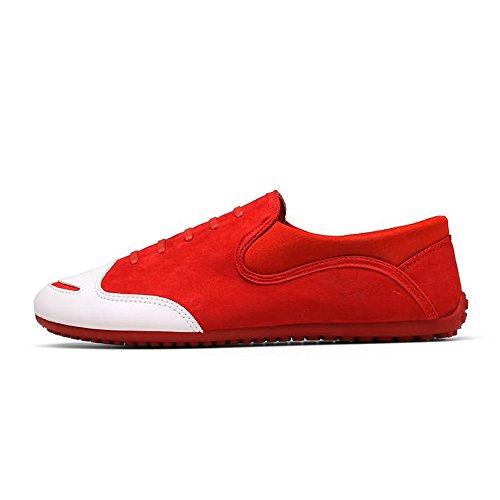 Scarpa tinta uomo da Hongjun tondo Dimensione piatto Mocassino 2018 Nero minimalismo shoes 42 tacco Tacco Color unita EU Rosso uomo Mocassini Mocassini xwCAvB8wq