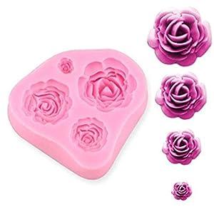 SUNKOOL NW-028 Roses Flower Silicone Cake Mold Chocolate Sugarcraft Decorating Fondant Fimo Tools 4 Size Pink 1 Piece 11