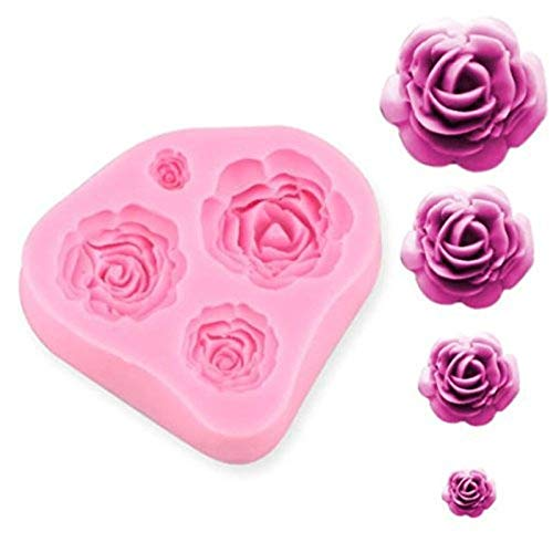 (SUNKOOL NW-028 Roses Flower Silicone Cake Mold Chocolate Sugarcraft Decorating Fondant Fimo Tools 4 Size Pink 1 Piece)