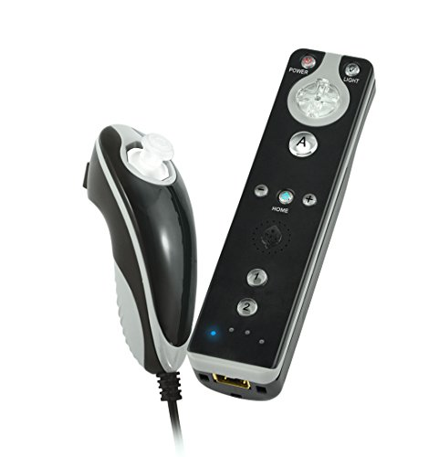 Collective Minds Black/Grey Remote with Motion Plus Support and Nunchuck Deluxe Kit featuring 7 Color Lighting System