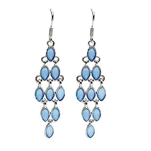 Connoworld Women's Earrings Fashion Cat Eye Faux Moonstone Long Dangle Women Hook Earrings Party Jewelry Light Blue