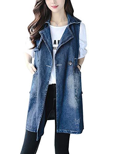 Ricamo Jeans Primaverile Donna Lunga Autunno Jacket Bavero Blu Giovane Women Vintage Casual Gilet Eleganti Denim Cappotto Fashion Smanicato Baggy zRzAqHg