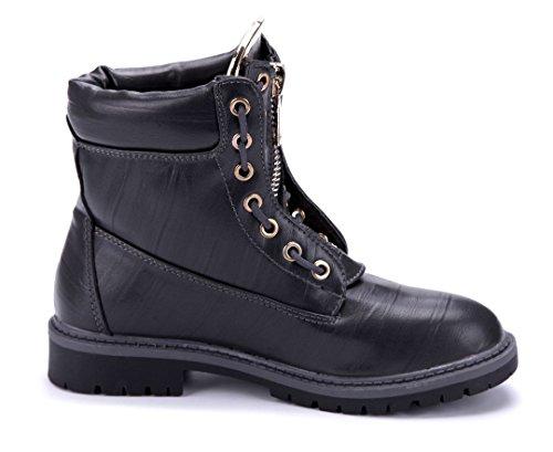 Schuhtempel24 Damen Schuhe Boots Stiefel Stiefeletten Blockabsatz 3 cm Grau