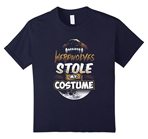 Kids Werewolves Stole My Costume Halloween Novelty T-Shirt 12 Navy (Werewolves Costumes)