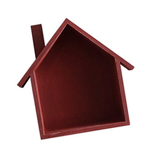 Baoblaze Rustic Wooden Organizer Shelves Freestanding/Wall Mounted Box Decorative Display Shelf, 24x19x9cm - Red by Baoblaze