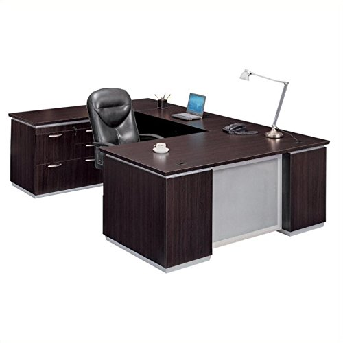Mocha Personal File Credenza U Desk with Left Bridge Mocha (Bridge Personal File)