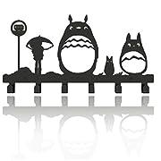 Animal Cat Girl Metal Wall Mounted Bag Hanger,6 Hooks Storage Rack Originality Clothing Hooks Sweet Black(Cute Totoro)