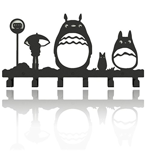 Animal Cat Girl Metal Wall Mounted Bag Hanger,6 Hooks Storage Rack Originality Clothing Hooks Sweet Black(Cute Totoro) by CHESE Sourcing Inc