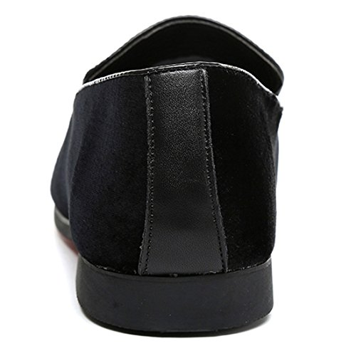 Santimon Slip on Shoes for Men Loafer Fashion Embroidered Suede Casual Round Toe Slipper Moccasins Shoes Black Gold