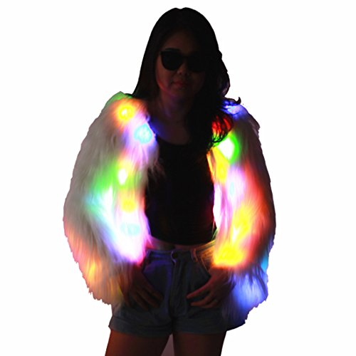 Coat Fur Fake Costume (M MAYEVER Women Girls Light Up Shaggy Faux Fur Coat Jacket Multicolor Led Halloween Carnival Party Costume (Size XXL, Long Fur)