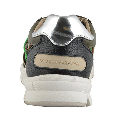 ... Dolce & Gabbana Menns Skinn Semsket Skinn Mote Joggesko Sko Multi-farge  ...