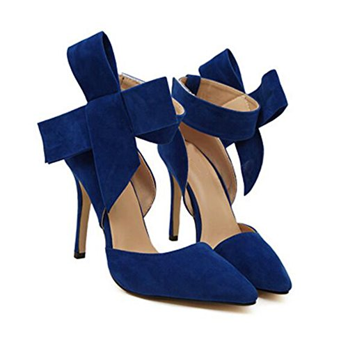 Eastlion Women's Fashion Stiletto Heel Pointed Toe Shoes Bow-Knot Sandals Pumps Court Shoes 35-43 Blue wxhQqHTp