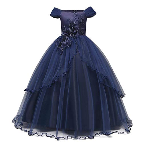 TTYAOVO Girls Applique Prom Gowns Luxury Wedding Birthday Party Princess Long Dresses Size(160) 11-12 Years Dark Blue -