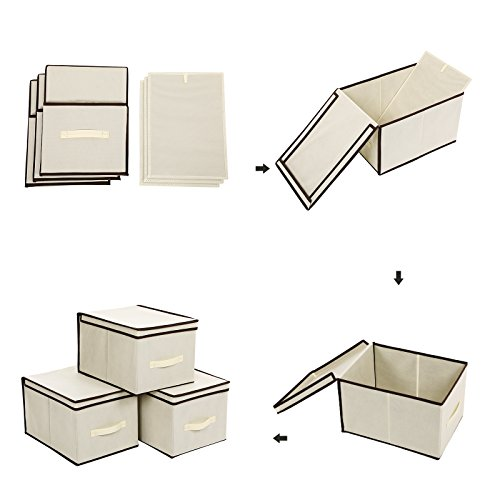SONGMICS Set of 3 Large Storage Container with Lids Foldable Storage Box with Lids Beige URLB40M by SONGMICS (Image #6)