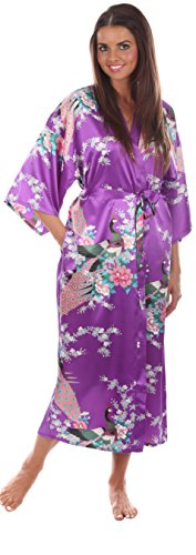 Majestic Kimono Robe (VEAMI Women's Kimono Robe, Peacock Design-Majestic Violet-Medium, Long)