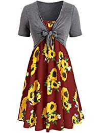 9996b88a94c00 Dresses for Women Casual Summer Short Sleeve Bandage Tops Front Criss Cross  Sunflower Printed Mini Dress