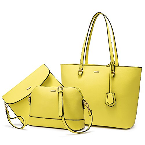 Handbags for Women Shoulder Bags Tote Satchel Hobo 3pcs Purse Set Yellow -1