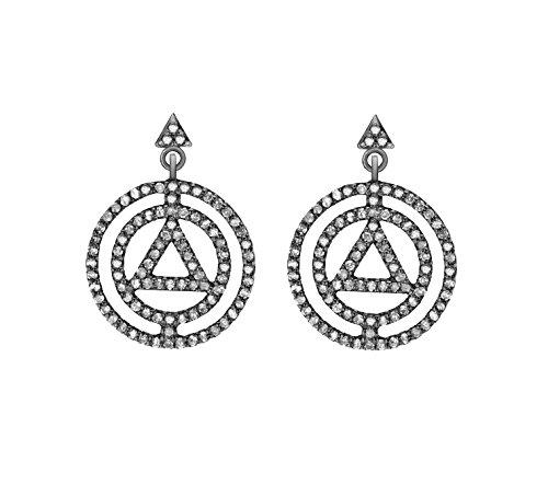 Jade Jagger Boucles d'Oreilles Acier Inoxydable Ronde Diamant Transparent Femme