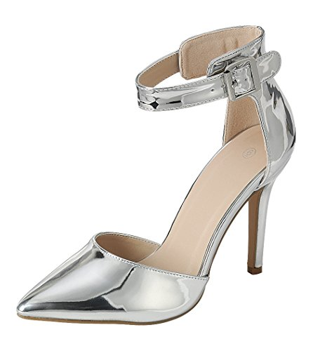 Cambridge Select Women's Closed Pointed Toe D'Orsay Buckled Ankle Strap Stiletto High Heel Pump,7.5 B(M) US,Silver Patent (Buckled Patent Pumps)