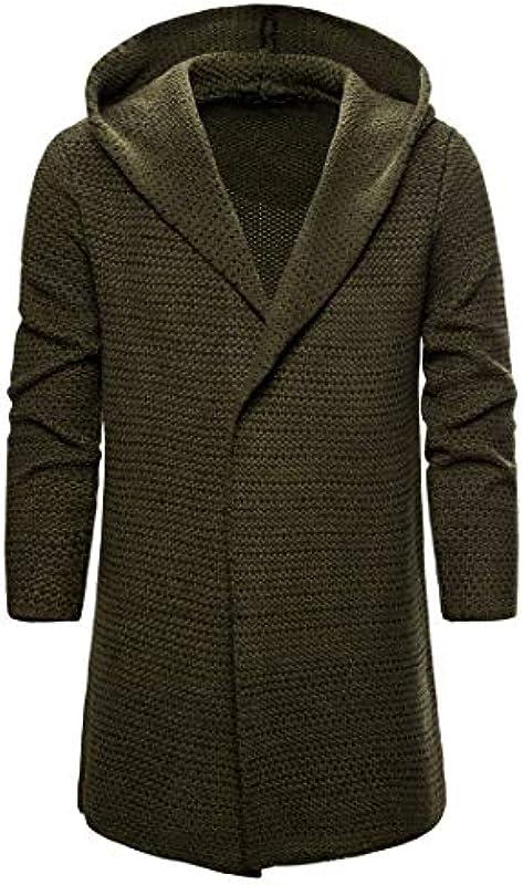 Męskie Kapuze Wolle Cardigan Langarm Baumwolle Gestrickt Casual Fashion Pullover: Odzież