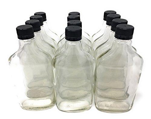 375 ml (12.7 oz) Glass Flask Liquor Bottle with Black Caps (12 Pack) (Whiskey Flask Bottle)